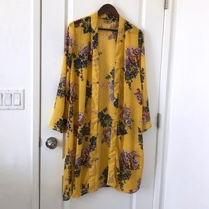 Jorja Kimono Cardigan Floral Coverup Yellow Medium